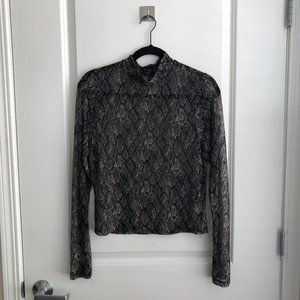 Shear Snake Print Turtle Neck